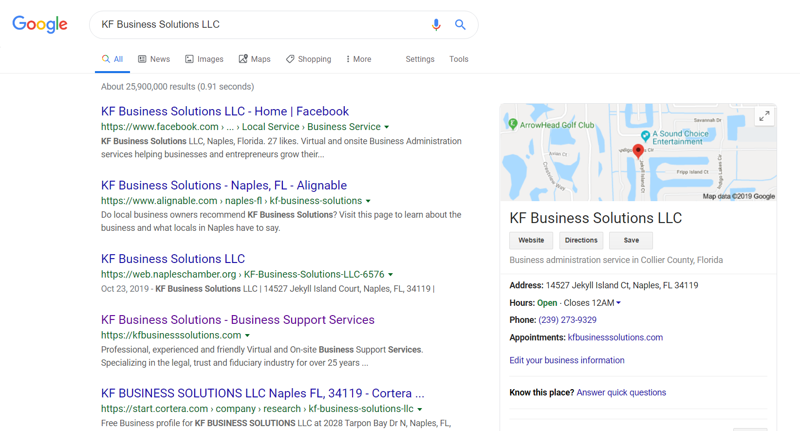 KF Business Solutions Google Page