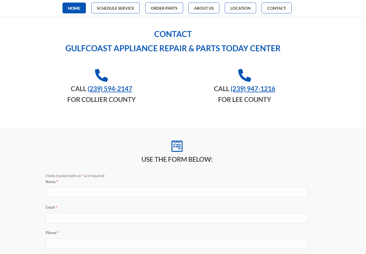 gulfcoast appliance repair - web design by alex belan contact