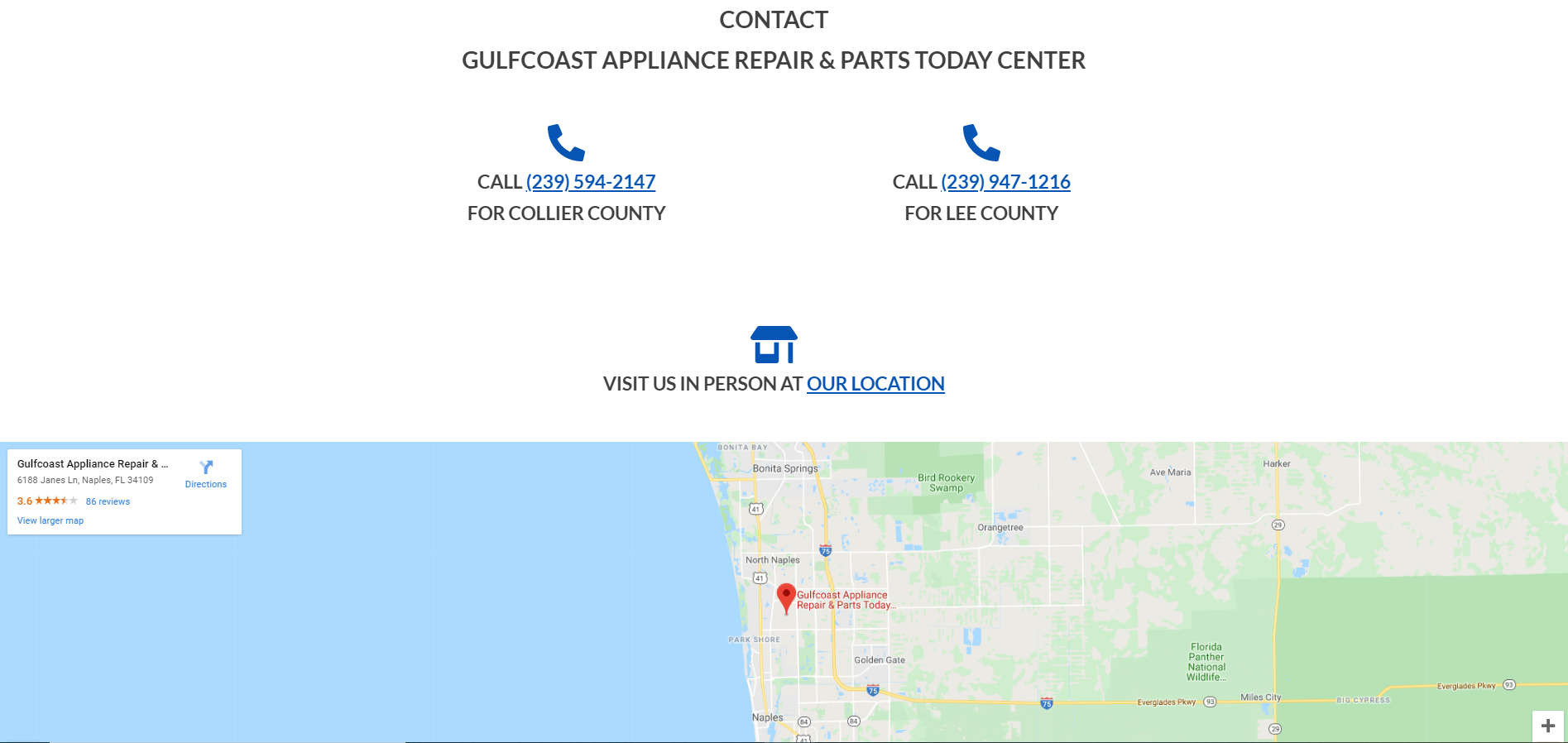gulfcoast appliance repair - web design by alex belan screenshot