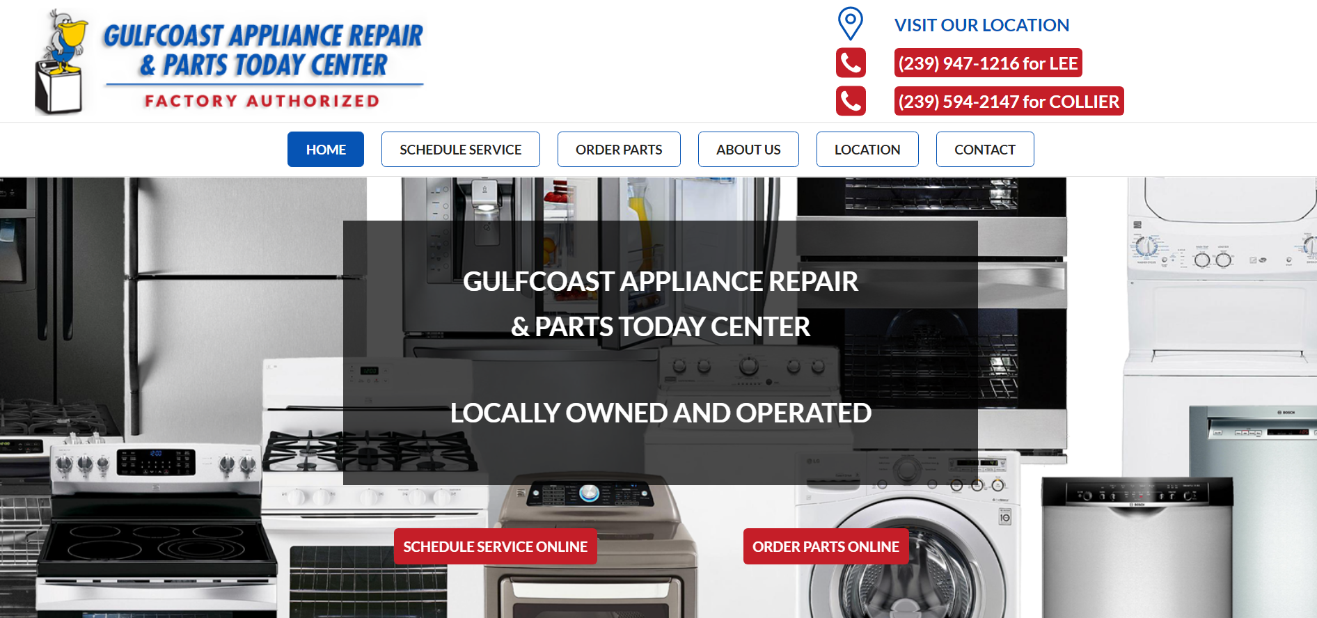 gulfcoast appliance repair - web design by alex belan