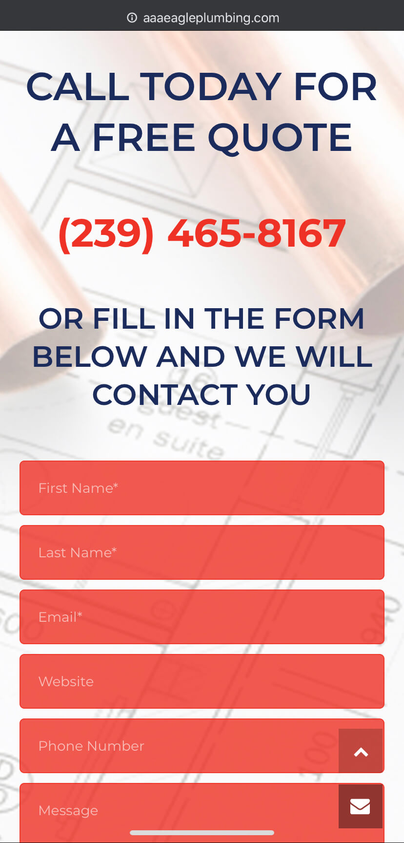 aaa eagle plumbing quote page mobile