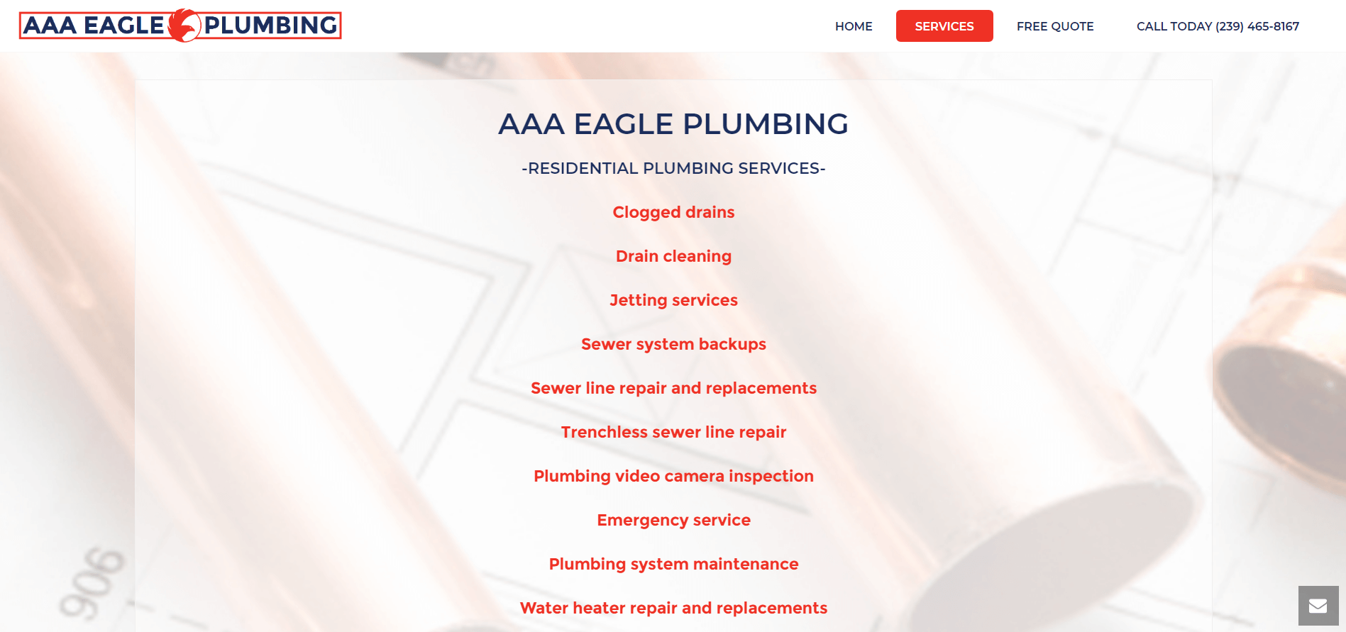 aaa eagle plumbing services page