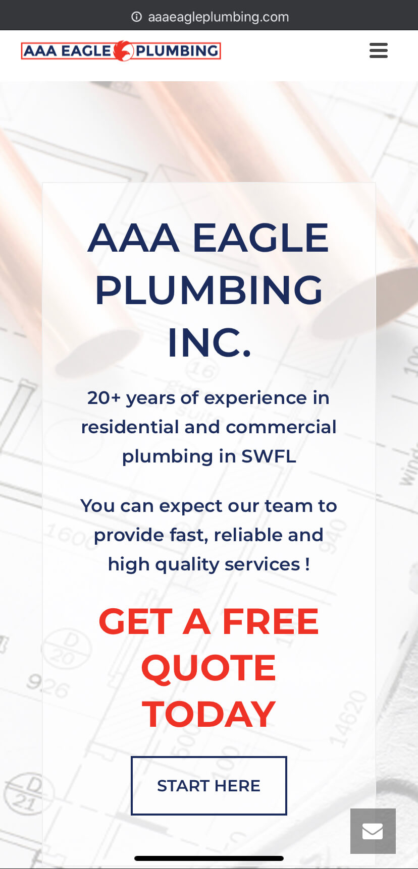aaa eagle plumbing splash page mobile