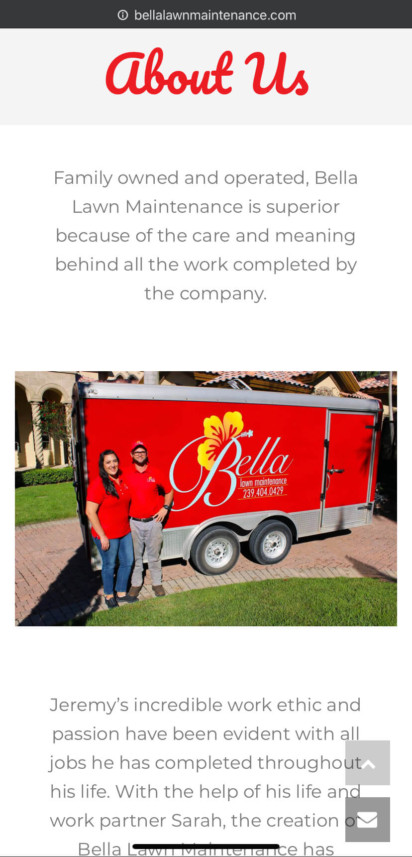 bella lawn mainetence about page mobile