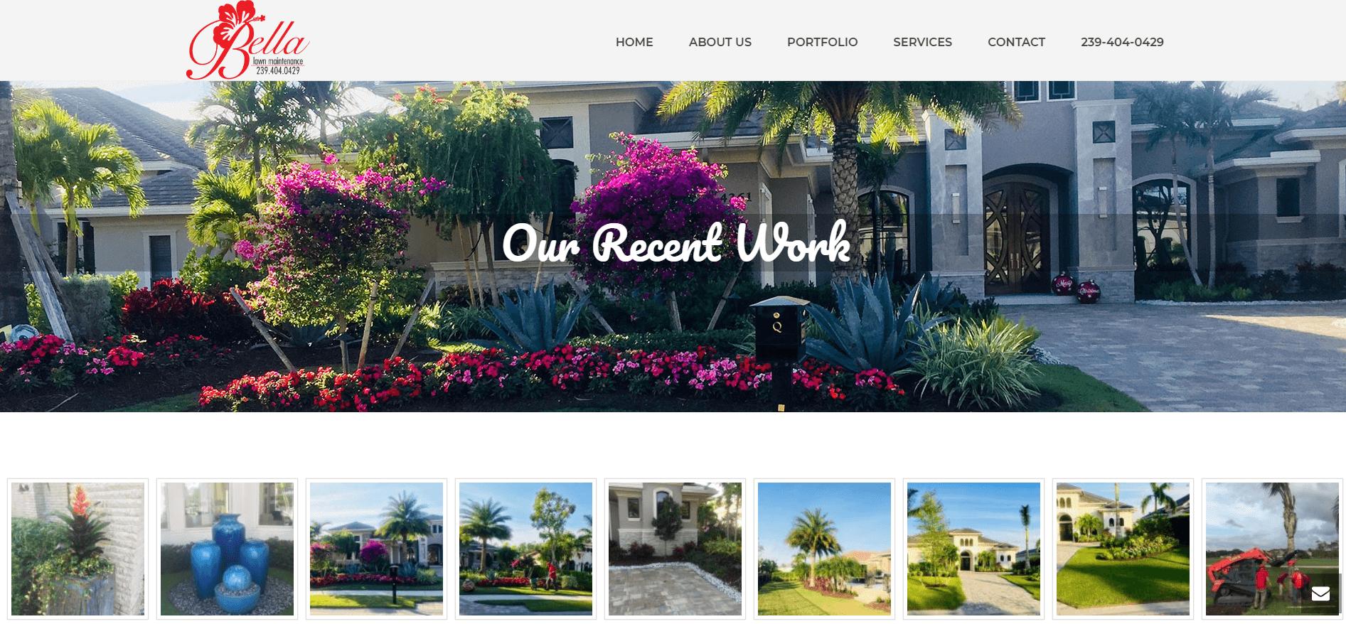 bella lawn mainetence portfolio page