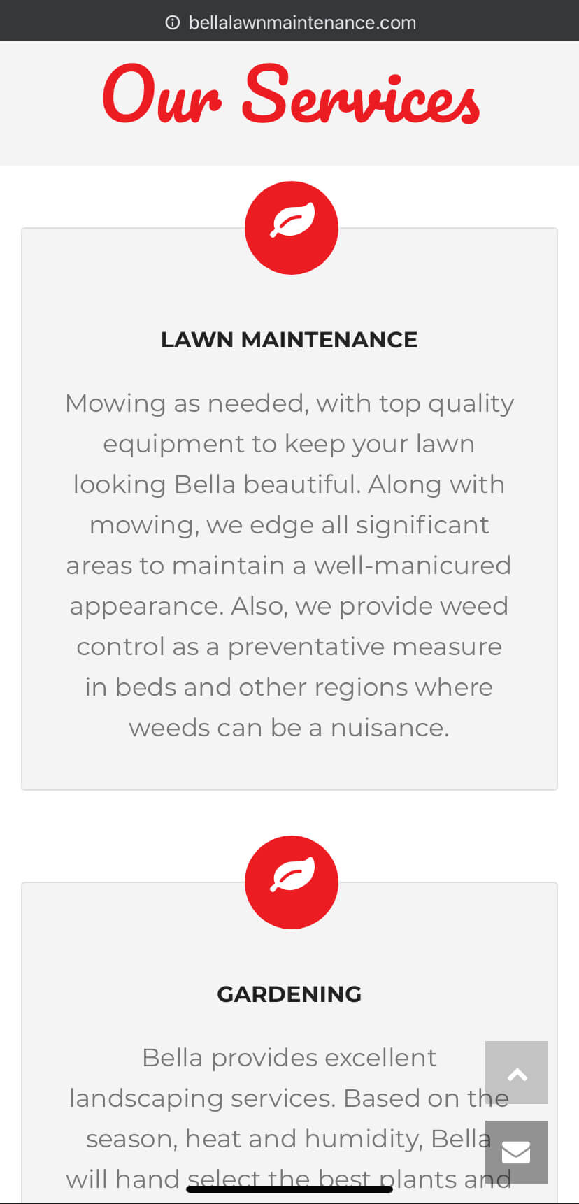 bella lawn mainetence services page mobile