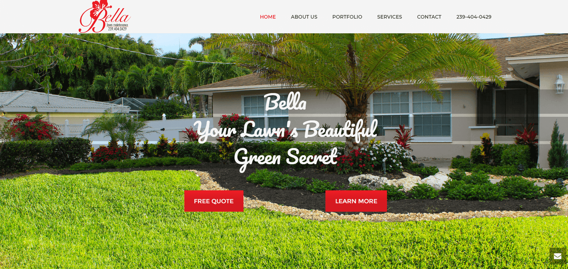 bella lawn mainetence splash page