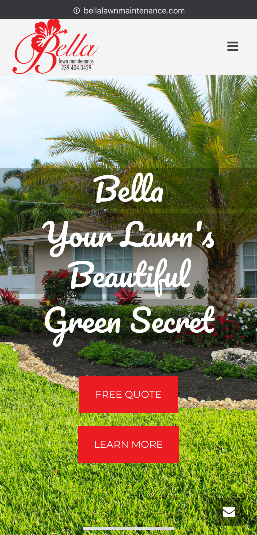 bella lawn mainetence splash page mobile