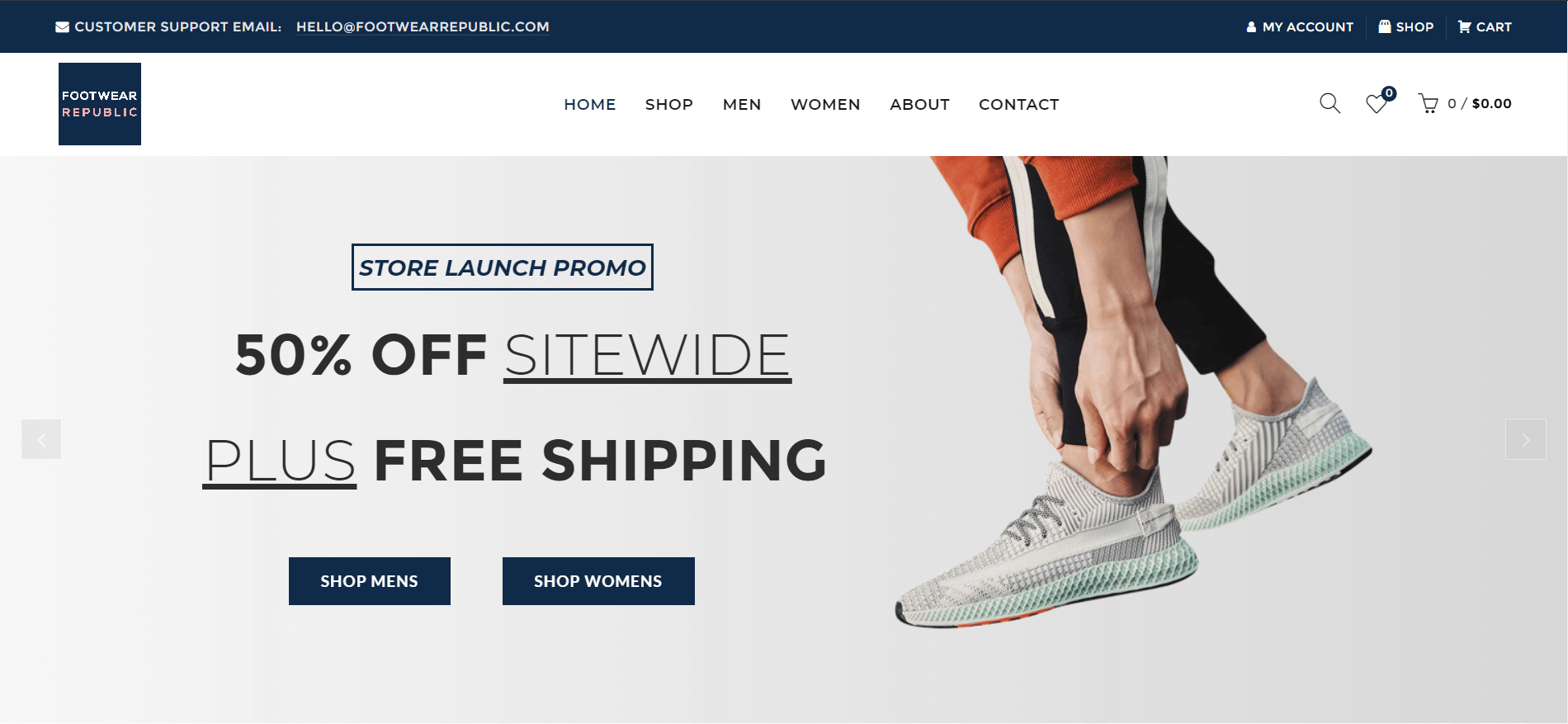 footwear republic splash page