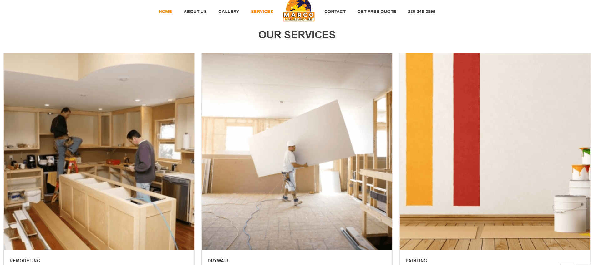marco marbe and tile services page