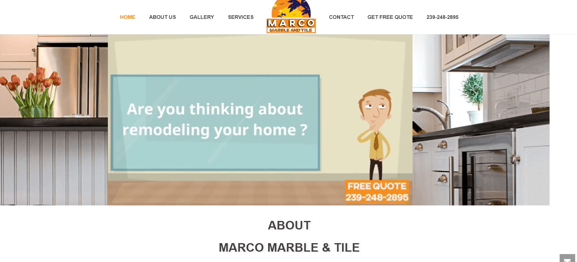 marco marbe and tile splash page