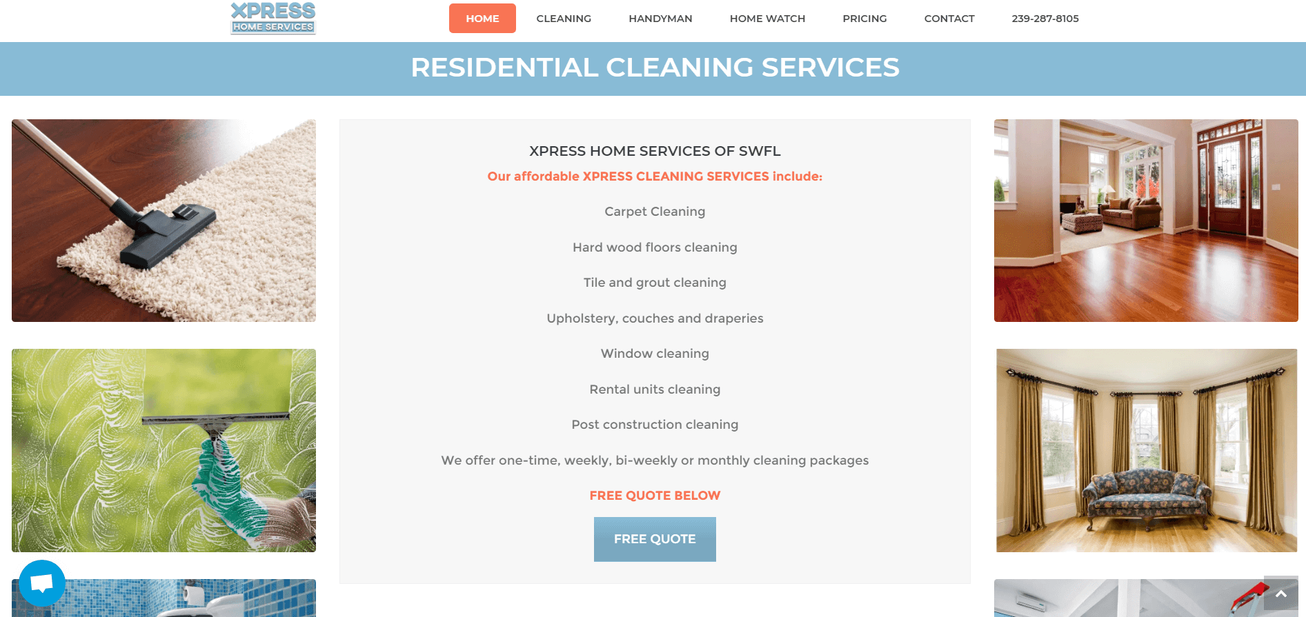 xpress home services cleaning page